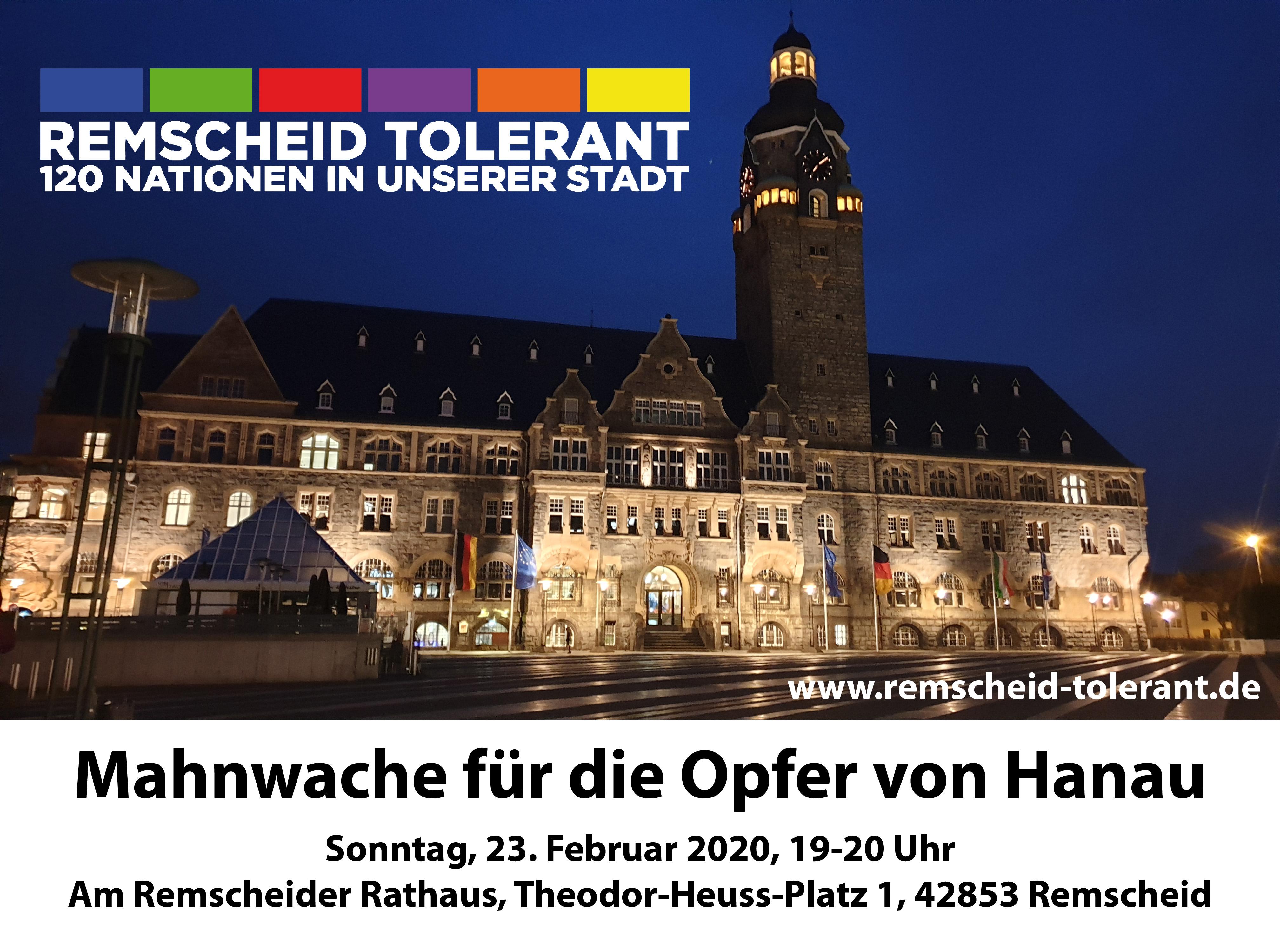 Einladung zur Mahnwache für die Opfer von Hanau am Sonntag, 23.02.2020 von 19-20 Uhr am Remscheider Rathaus.
