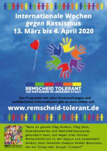 Das DIN A3-Plakat der Internationalen Wochen gegen Rassismus 2020 in Remscheid zum Herunterladen.