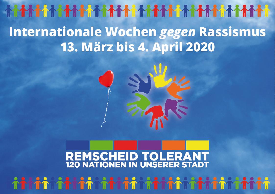 Die Internationalen Wochen gegen Rassismus gehen in Remscheid vom 13. März bis zum 4. April 2020.