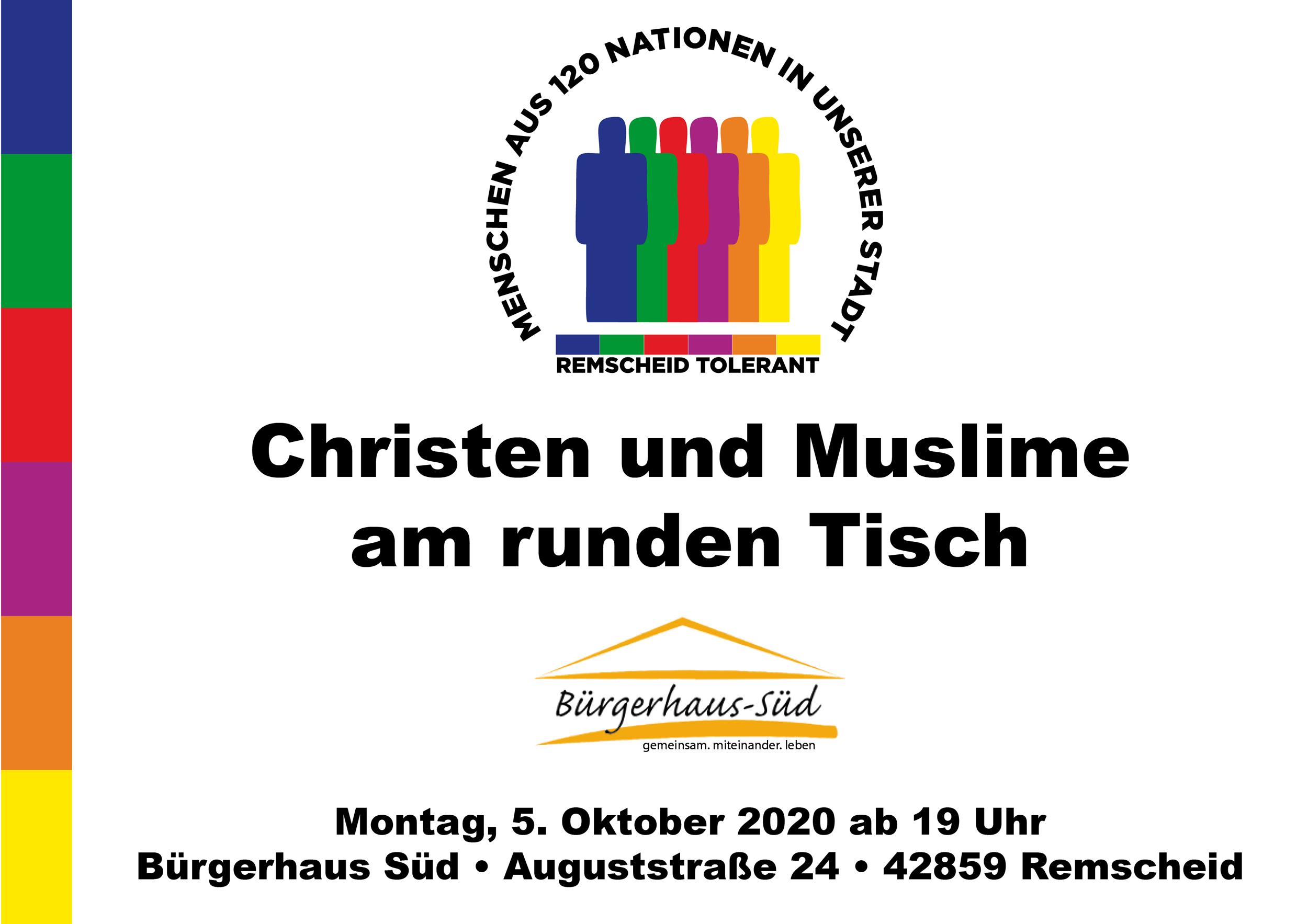 Christen und Muslime am runden Tisch: Am 5. Oktober 2020 ab 19 Uhr im Bürgerhaus-Süd.