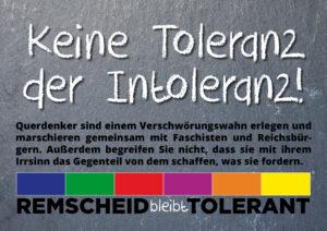 Keine Toleranz der Intoleranz: Remscheid bleibt tolerant.